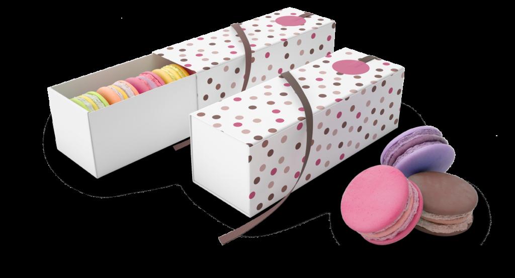 macaron in due scatole rettangolari