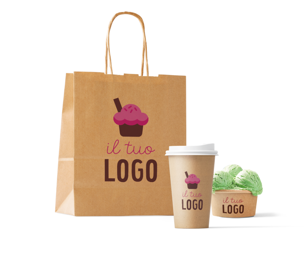 Sacchetto, coppetta personalizzabili con logo e marchio