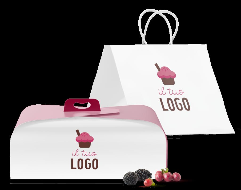 Sacchetto e portatorta con disegno di cupcake